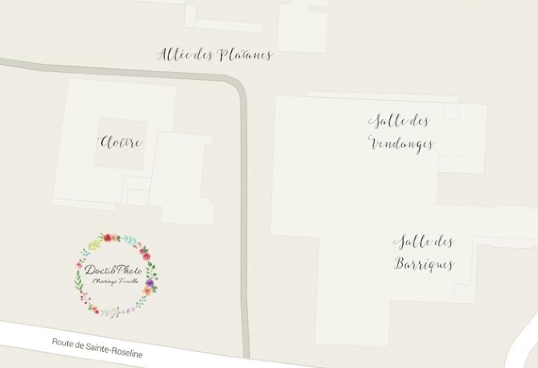 Plan lieu mariage Château de Sainte Roseline Var